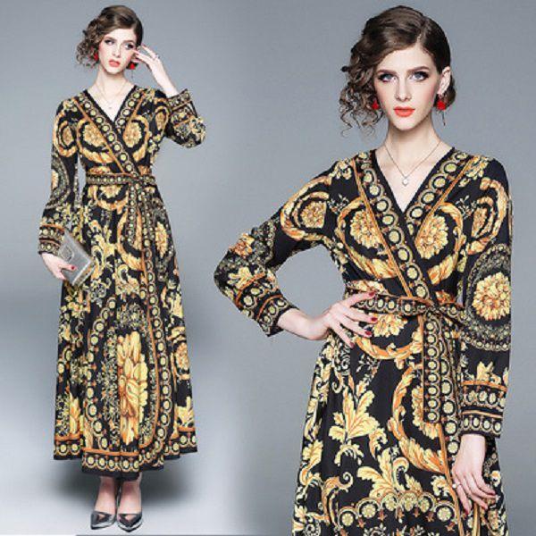 top popular Women Summer Lond Dress Holiday Maxi Loose Sundress Floral Print V-neck Long Sleeve Elegante Dresses Cocktail Party Baroque Robe 2021