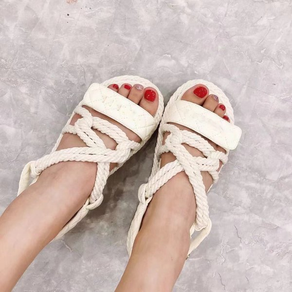 top popular 2021 luxury bubble running women sandals designer beach soft sole leather smooth sports leisure platform multi function Roman Hemp rope woven thick soles shoes 2021