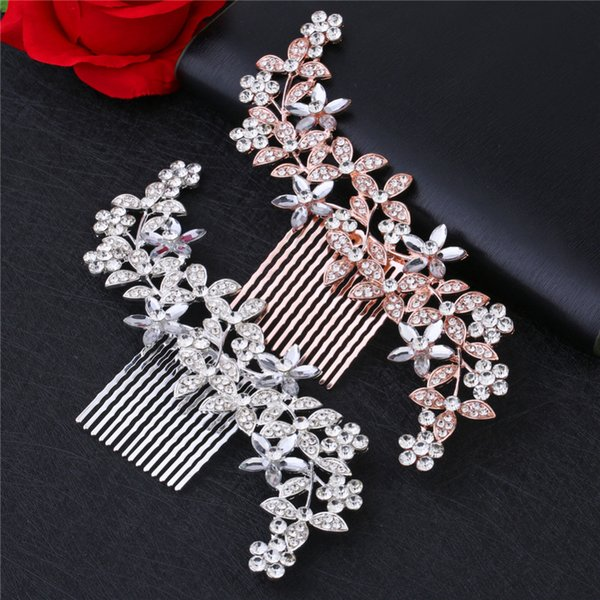 Wedding Elegant Five-Petal Crystal Hair Ornaments Flashing Crystal Pearl Bride Hair Comb Bridal Hair Accessories Jewelry