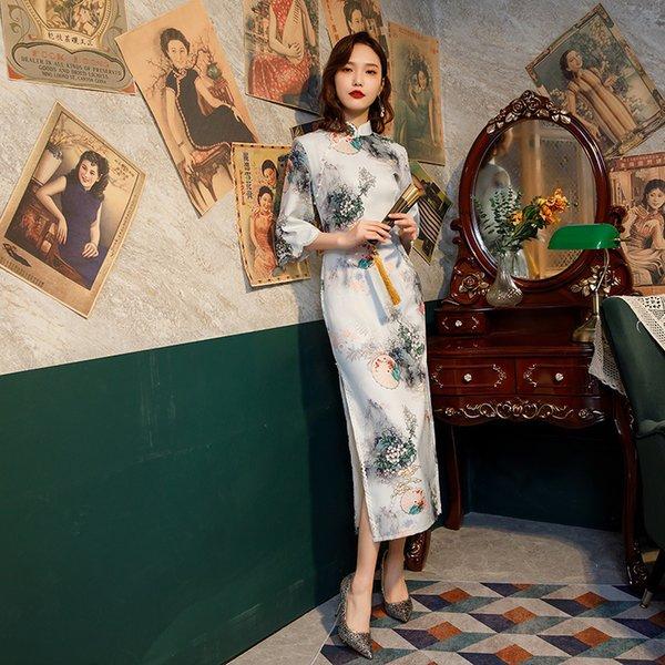 Flower Printed Flared Sleeves Long Cheongsam Female Ice Silk Chinese Qipao Elegant Traditional Clothing Size S-3XL Apparel Ethnic Clothing DIY Clothing Mens Clothing Womens Clothing Ethnic Clothing