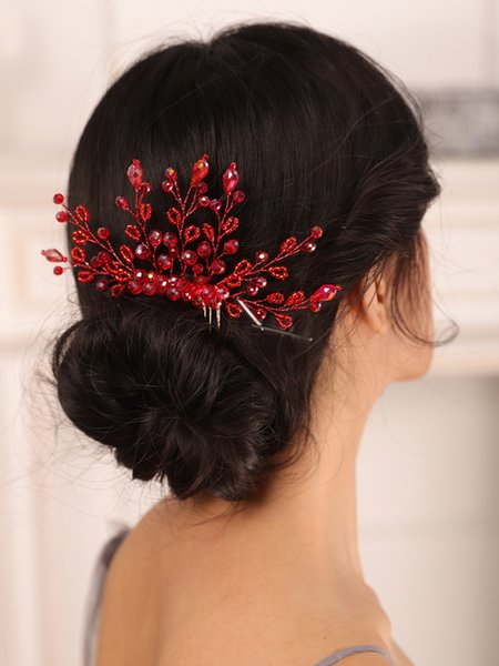 Bohe Wedding Accessories Red Crystal Bride hair comb Party for Women Girl Headdress Bridal Headwear Hair Jewelry
