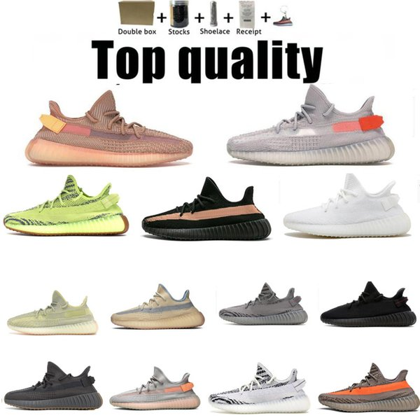 top popular Kanye West Bred Earth Oreo Men's Running Shoes Black Static Reflective Cream White Beluga Yecheil Cinder Zebra Sports 36~48 Half Size 2021