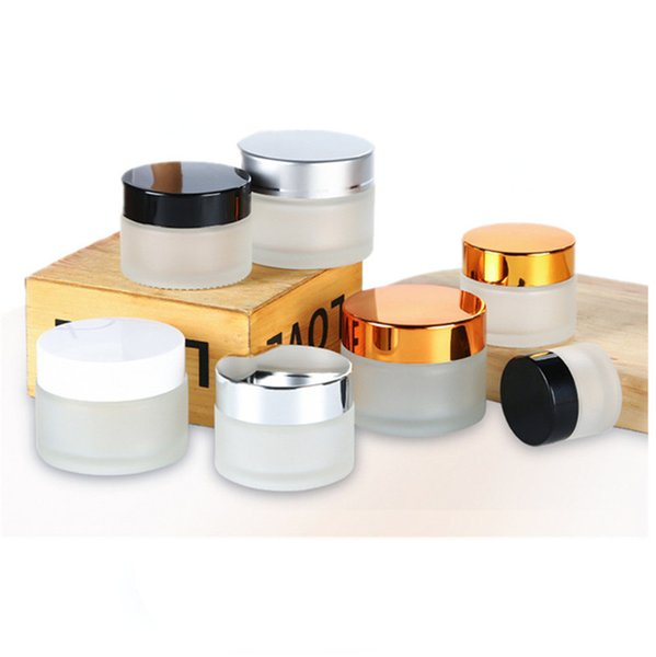 top popular 5g 10g Glass Jar Cream Bottle Cosmetic Empty Container with Black Silver Gold Lid and Inner Pad for Lotion Lip Balm 2021