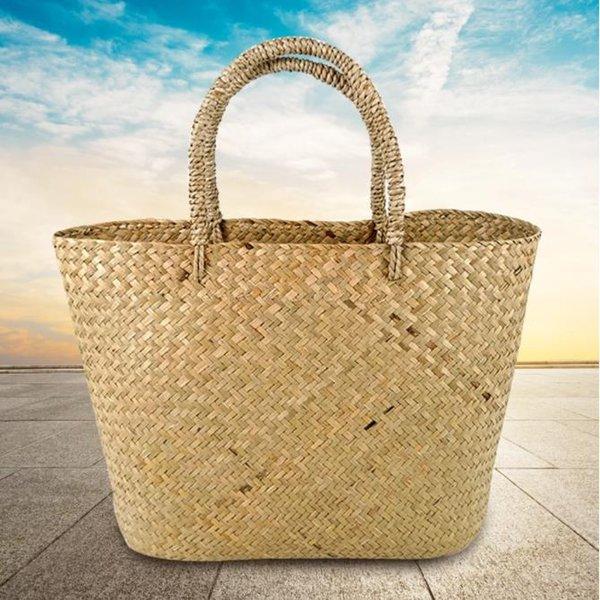 best selling Straw Woven Shopping Basket Travel Everyday Women Handbag Handmade Shopper Eco-friendly Girls Reusable Tote Summer Beach Casual