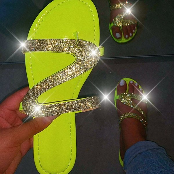 Women Summer Flat Bling Slippers Transparent Soft Jelly Shoes Female Flip Flops Sandals Outdoor Beach Ladies Slides Plus Size p3jT#