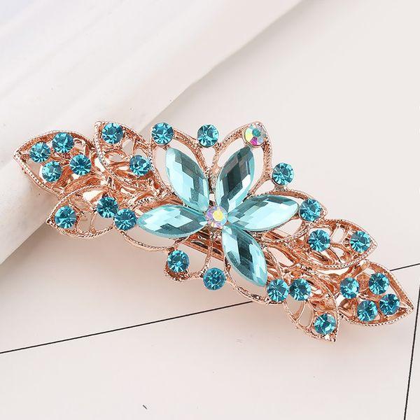 Alloy Hair Clips Barrette Women Girls Headdress Spring Clip Hair Accessories Leaf Shape Hairpins Crystal Cute Headwear