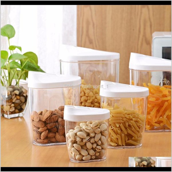 top popular Aents Décor Home & Garden Drop Delivery 2021 5Piece Locking Clear Acrylic Plastic Food Storage Jars Canisters Bottles Set With Airtight Lids 2021
