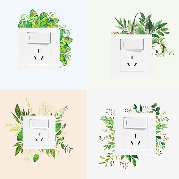 Nordic Green Plant Switch Wall Sticker DIY Peony Rose Flower Beach Tropical Palm Leaf Wall Sticker Modern Art Switch Stickers