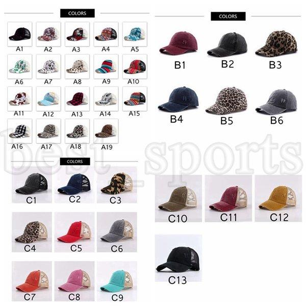 top popular 38 Colors Ponytail Baseball Cap Outdoor Snapbacks Washed Mesh Back Leopard Plaid Camo Messy Bun Hat Criss Cross Trucker Hats CYZ3120 2021