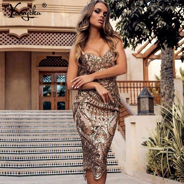 Sexy strap long sequin dress Women Sleeveless dresses V neck club party Backless Maxi dress Gold sequined vestidos summer 2021