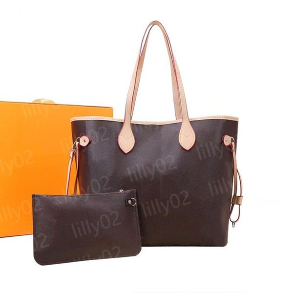 best selling 6 colors lattice 2pcs set Top quality Women PU leather handbag handbag ladies designer handbag high quality lady clutch purse retro shoulder bag M40156