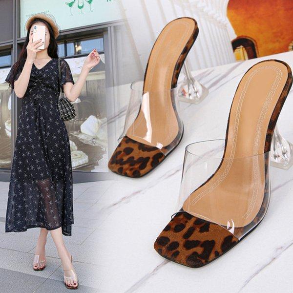 Women Sandals High Heels Ladies Slippers Fashion Shoes Summer Transparent Leopard Sexy Footwear Woman Dress 2021 New Female