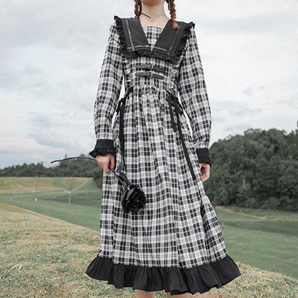 QWEEK Gothic Lolita Dress Goth Plaid Dress Gothic Style Kawaii Lolita Cute Midi Dress Mall Goth Gothic Accessories Mori Girl