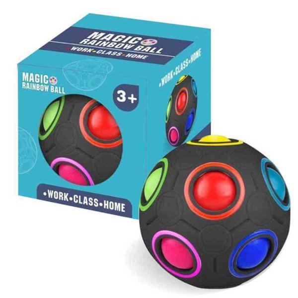 best selling 12 Hole Speed Football Spherical Puzzles Fingertip Toys Creative Rainbow Ball Magic Cube Toy Pressure Ball For Autism Special Needs H4172S1