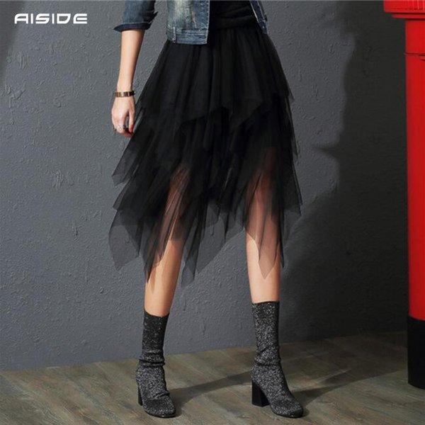 Tulle Skirts Womens Irregular Fashion Korean Elastic High Waist Mesh Tutu Skirt Sexy Pleated Long Skirts Midi Skirts for Women