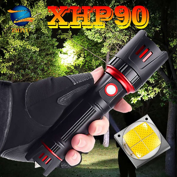 top popular ZHIYU NEW XHP90 Ultra Powerful 26650 LED Flashlight USB Rechargeable LED Torch Tactical Zoom Light for Camp Fishing, Hiking 201207 2021