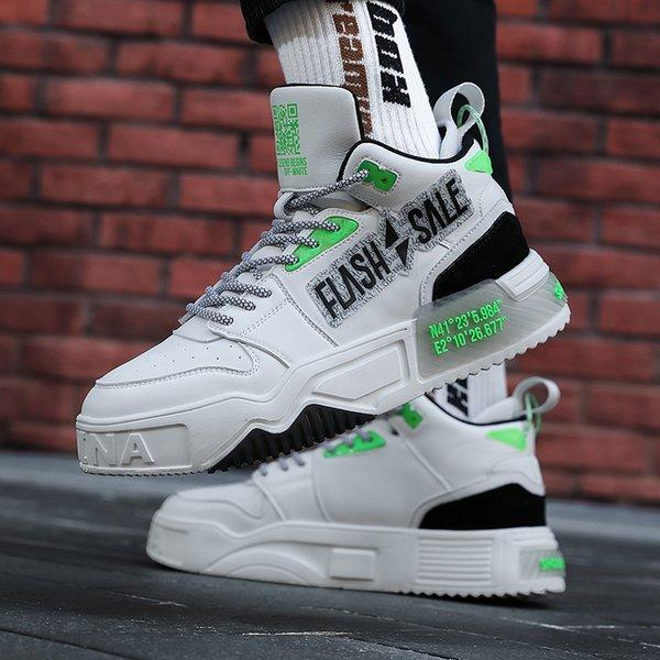 Brand Hiphop Flock Casual Shoes Men Patchwork Reflective Shoelaces Designer Shoes Mens Fashion Platform Shoes Plataforma Hombre