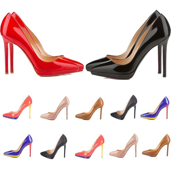 top popular Women Red Bottom High Heels Pointed Toes Luxurys Designers Shoes Genuine Leather Pumps Lady Wedding Sandals 1cm Platforms 2021