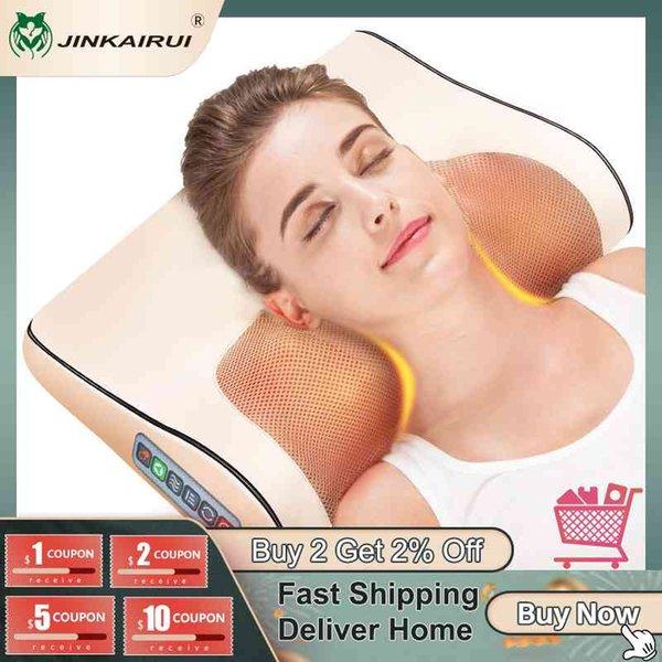 top popular Jinkairui Infrared Heating Neck Shoulder Back Body Electric Massage Pillow Shiatsu Device Cervical Health Massageador Relaxation 2021