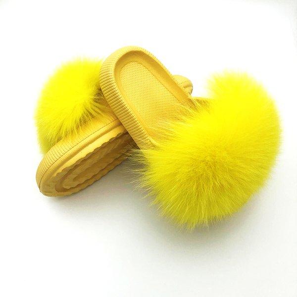 Slippers Eva Luxury Fur Women Sandals Summer Slippers Women Indoor Real Fur Slippers Women Fluffy Plush 4cm Platform Sandals
