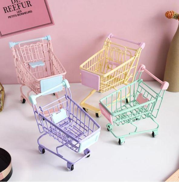 best selling Mini Supermarket Shopping Cart Desktop Decor Cosmetic Lipstick Storage Basket Toy Gift For Girl Kid Simulation Handcart