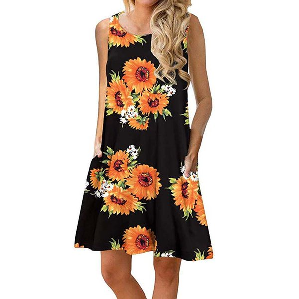 best selling More colors Women Summer Floral Print Sleeveless Casual T Shirt Dresses Beach Cover Up Pleated Tank Dress