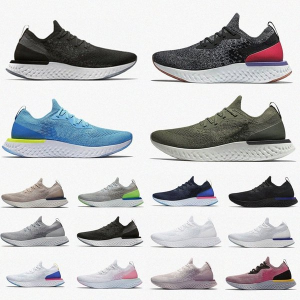 top popular Epic React Flynit V2 V1 Mens Womens Fly Knit Running Shoes ALL White Triple Black Pink Light Grey Royal Green Women Sneakers TrainersikFV# 2021