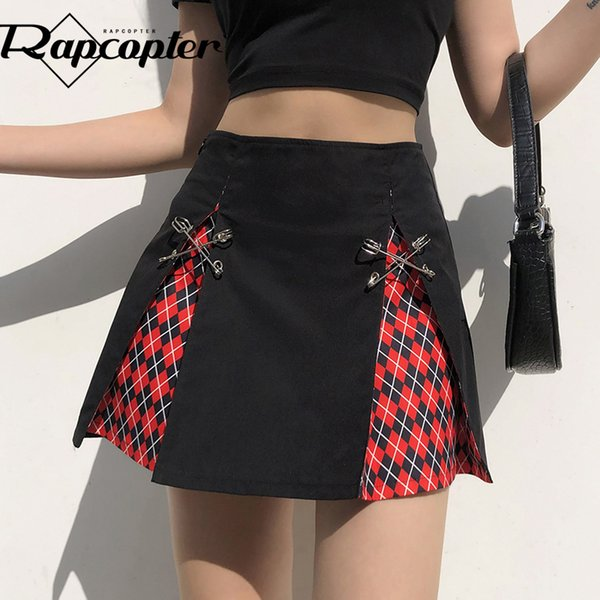 Rapcopter Printed Y2K Skirts High Waist Pleated Skirts Retro Women Skirts Autumn New Red Cute Skirt 2021 New Mini Bottom