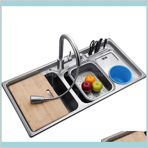 best selling Kitchen Sinks Fixtures Building Supplies Home & Garden Multifunctional Sink Stainless Steel Brushed Double Bowl Drawing Drainer And Co