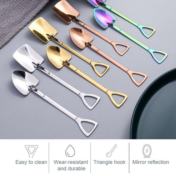 4Pcs Stainless Steel Coffee Spoon Shovel Set Creative Ice Cream Spoon Shovel Christmas Gift Tea Spoon Tableware Christmas Gift