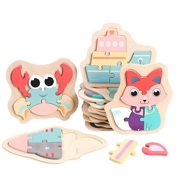 top popular Kids Wooden 3D Puzzle Jigsaw Toys For Children Cartoon Animal Vehicle Wood Puzzles Intelligence Kid Baby Early Educational TXTB1 1288 Y2 2021