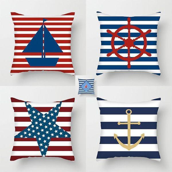 top popular Blue ocean sailing series pillow cover sofa car office lunch break cushion 2021