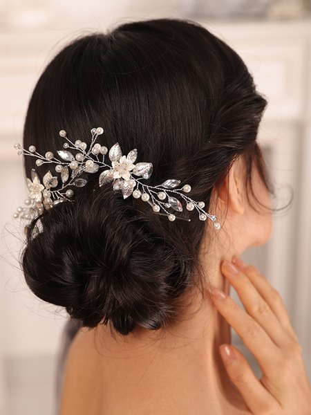 Silver Wedding Hair Pin Flower Leaf Pearl Rhinestone Hair Clip Elegant Women Headdress Party Bridal Headwear Hair Jewelry