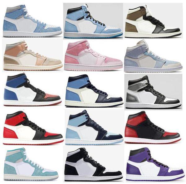 top popular 1 University Blue Hyper Royal Twist Chicago Basketball Shoes Men 1s Mid Milan Digital Pink Sail Light Blue UNC Patent Top 3 Bred Toe Court Purple Sneakers 2021