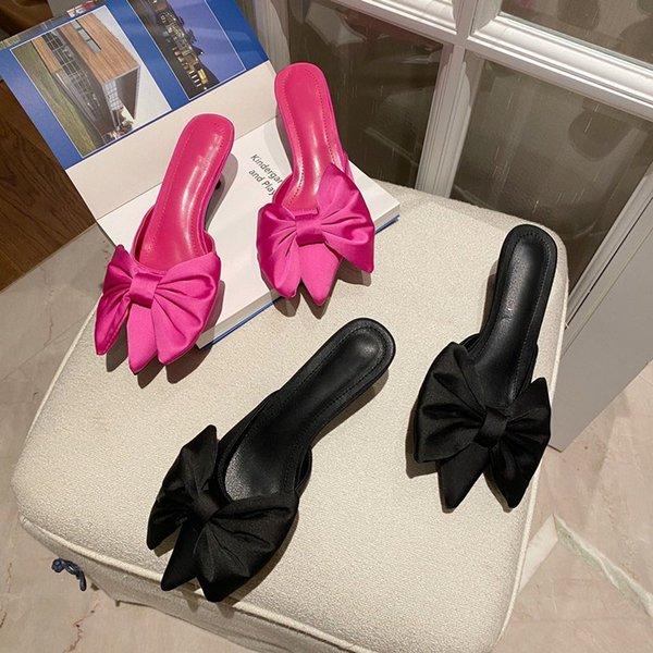 2021 Women Shoes Pumps Fashion High Heels Woman Sandals Shoes On Heels Ladies Bowknot Low Heels Sexy Female Mules Women Pumps
