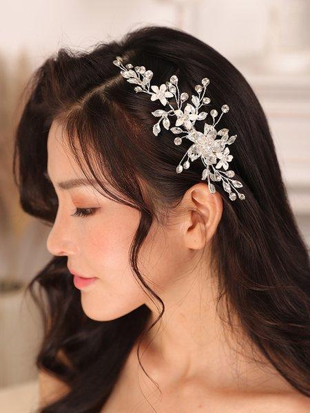 Wedding hair clip Silver Rhinestone Flower Hair pins Bride Ornaments Headpieces Women Hair Jewelry Bridal Accessories