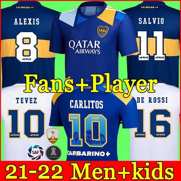 top popular Fans Player version 21 22 Boca Juniors soccer jersey CARLITOS MARADONA TEVEZ DE ROSSI 2021third home away 3rd 4th thailand football shirt MEN AND KIDS SETS UNIFORM 2021