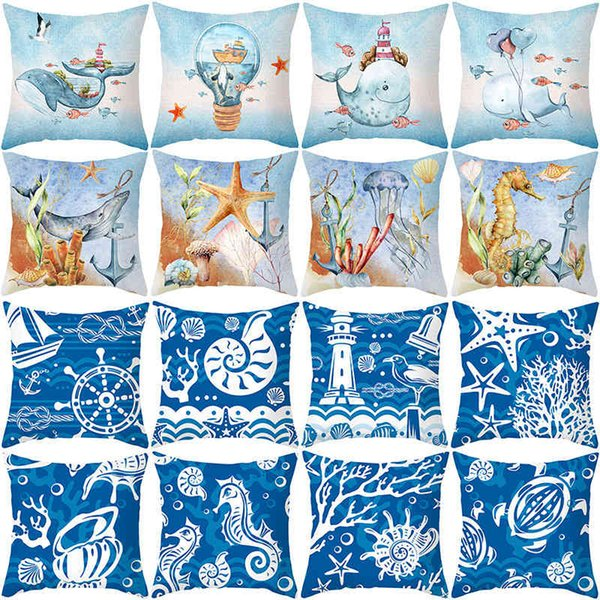 best selling Summer marine biology peach skin velvet pillow case Nordic sofa cushion household products pillow case