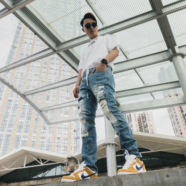 American High Street Brand OFF Ripped Frayed Distressed Man Pants Streetwear Slim Mens Jeans Trousers Mens Clothing Mens Clothing Mens Pants Apparel Mens Jeans