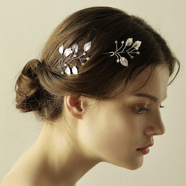 Wedding Hair accessories decoration Vintage Leaves Silver Gold Handmade Hair pin set Banquet Feast Party Bride Headwear women