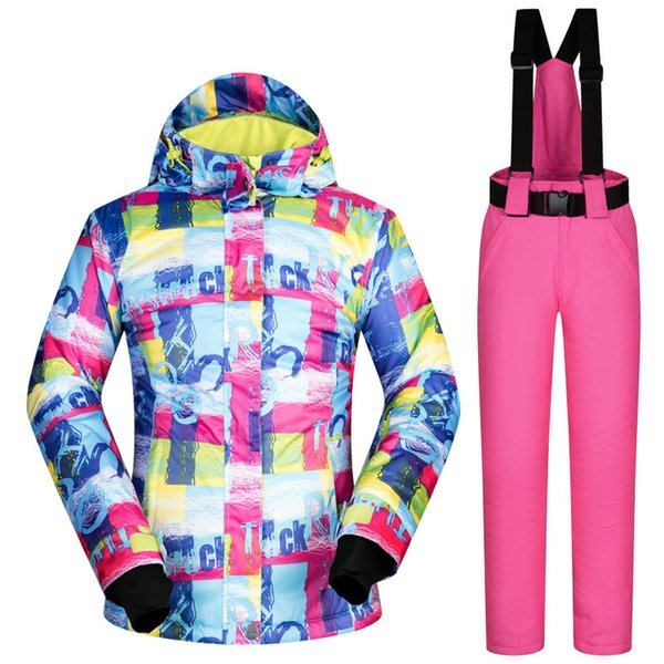 best selling 2020 Fashion Outdoor Winter Snow Suit Sets Women Skiing Snowboard Ski Suits Clothes Windproof Waterproof Outdoor Sports Jackets and Pants
