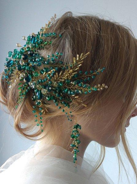 Bohe Green Hair Vine Hair Piece Crystal Headdress Bridal Gold Hair Accessories Wedding Accessories Bride Headband for Women