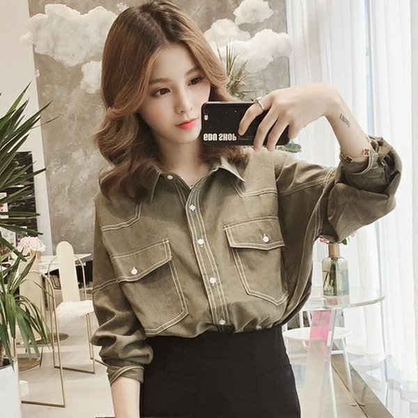 Green Top Street Style Spring 2021 Womens Clothing Chemise Femme Manche Longue Large Size Womens Clothing Shirts for Women Womens Clothing Dresses Skirts Womens Blouses & Shirts Womens Hoodies & Sweatshirts Womens Jeans Womens Jumpsuits & Rompers Womens Outerwear & Coats Womens Sweaters
