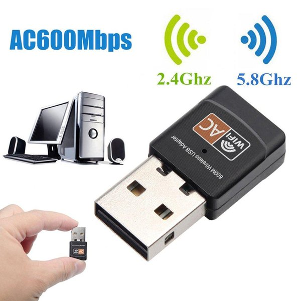 top popular USB2.0 Wifi Adapter 600Mbps dual band 5.8ghz Antenna USB Ethernet PC Wi-Fi Adapter Lan Wifi Dongle wireless AC Wifi Receiver 2021