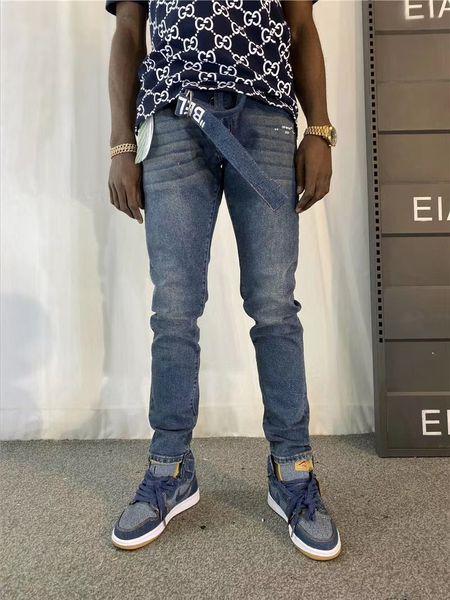 American High Street Brand OFF Stretch Classic Style Fit Blue Man Pants Streetwear Slim Mens Jeans Trousers Mens Clothing Mens Clothing Mens Pants Apparel Mens Jeans