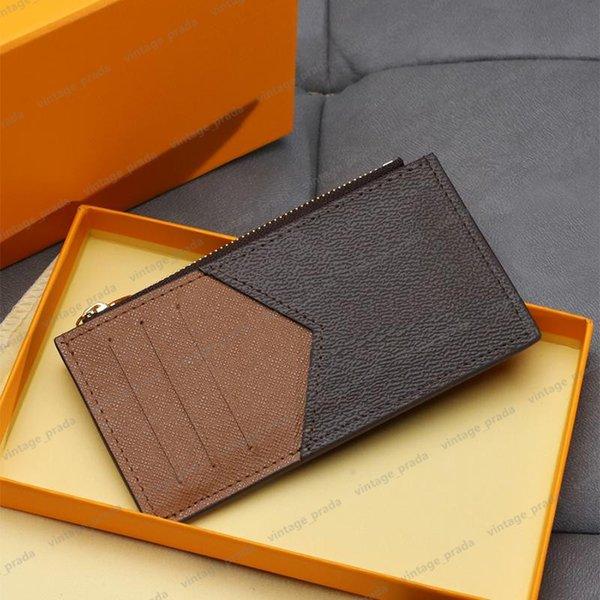 top popular Top quality Genuine Leather Holder Luxurys Designers Fashion handbag Men Women's COIN CARD Holders Black Lambskin Mini Wallets Key Purse Pocket Interior Slot 2021