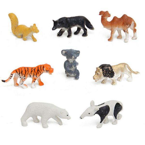 8pcs/lot Multi-Colored Developmental Toy Kids of Wild Animal Figures Toys Hard Plastic Kid Children Animal Model Set Action Kit