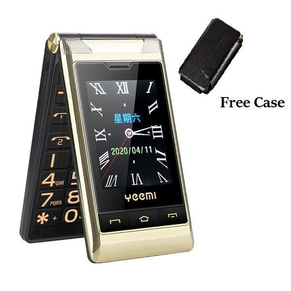 top popular Unlocked Senior Flip Cell phones Double Dual Screen phone 2 SIM Card Speed Dial One key Fast Calling Touch Handwriting Big Keyboard FM Mobilephone For Old People 2021