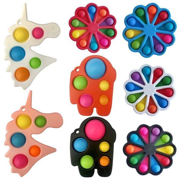 top popular Colorful Fidget Push Bubble Sensory Toy Squishy Stress Reliever Autism Needs Anti-stress Rainbow Adult Children 2021