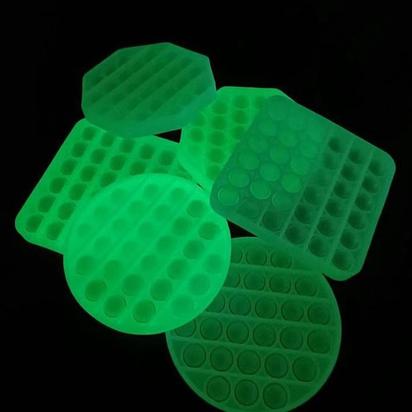 best selling DHL TNT Fast Ship Glow in the dark pop it fidget Silicone Toys Anti Stress Relief Luminous Toy Push Bubble with Stock